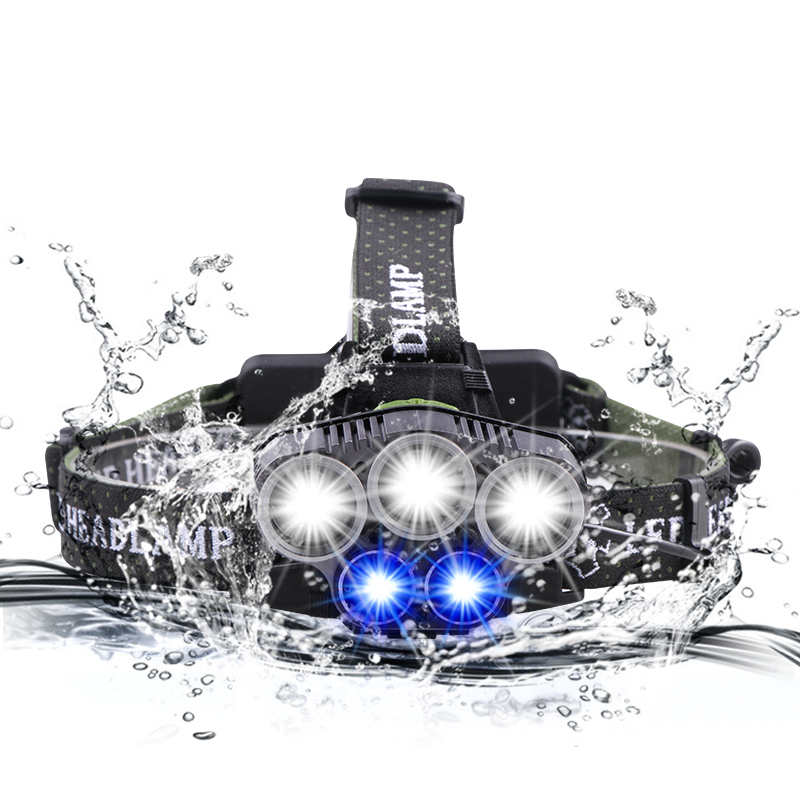 LED Headlamp Blu Ray Fishing Light CREE T6 Q5 Rechargeable Waterproof Lantern Camping Lantern Lantern Headlamp 18650 Battery