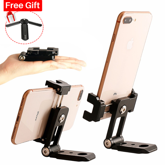 ST 05 All in 1 Phone Tripod Mount Clipper w Hot Shoe for Microphone Vertical Video Shoot Tripod Clamp Holder for iPhone XS XR