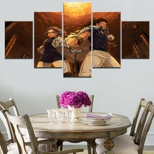 Gajeel And Levy McGarden Home Canvas Wall Art 5 Pieces Paintings Fairy Tail Anime Decor Living Room Artwork