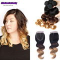 3 tone sexy formula hair with closure unprocessed virgin brazilian hair  4 bundles ombre with closure 1b/4/27 with lace closure