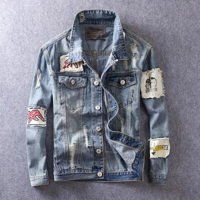 Recém Outono High Street Fashion Homens Jaqueta Retro Cor Azul Projeto do Remendo Impresso Jaqueta Jeans Hombre Hip Hop Homens Do Revestimento outwear