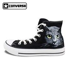 Мужские нестандартная обувь черные Converse All Star ручной росписью Кошка Холст Кроссовки Женская Брендовая обувь Chuck Taylor