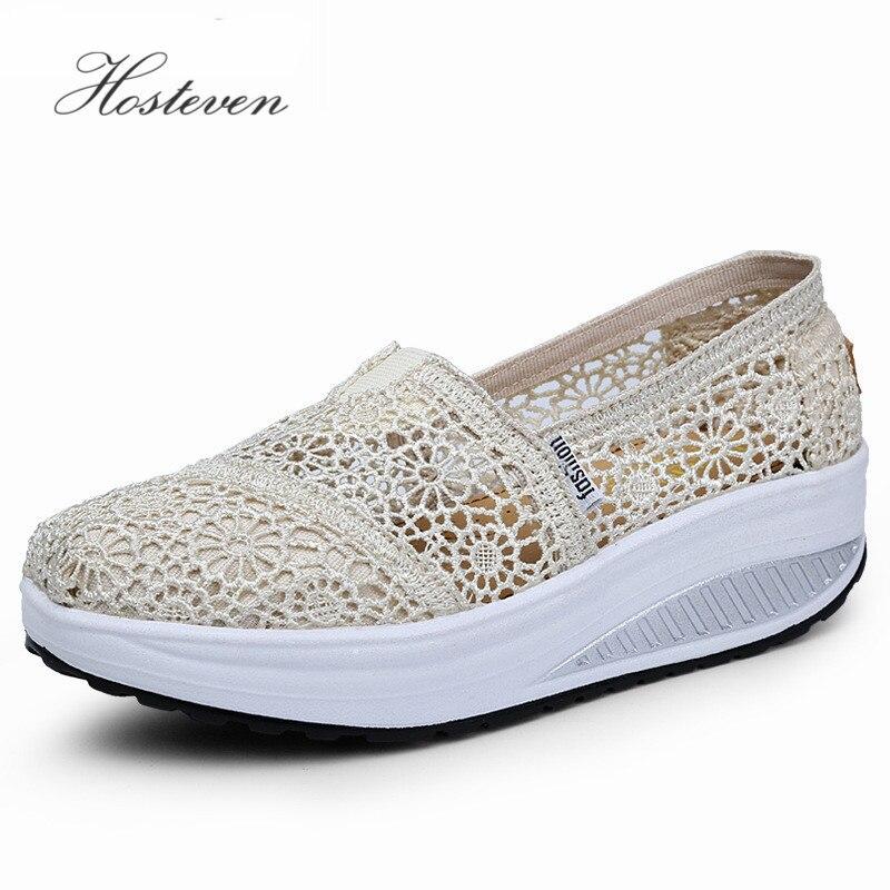 Hosteven Women's Shoes Fashion Casual Platform Women Vulcanize Shoes Ladies Air Mesh Shoes Woman Black White Solid Footwear