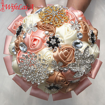 Wifelai a 1piece new mixed rose flowers bridal wedding bouquets luxury gold silver diamonds stitch wedding.jpg 350x350