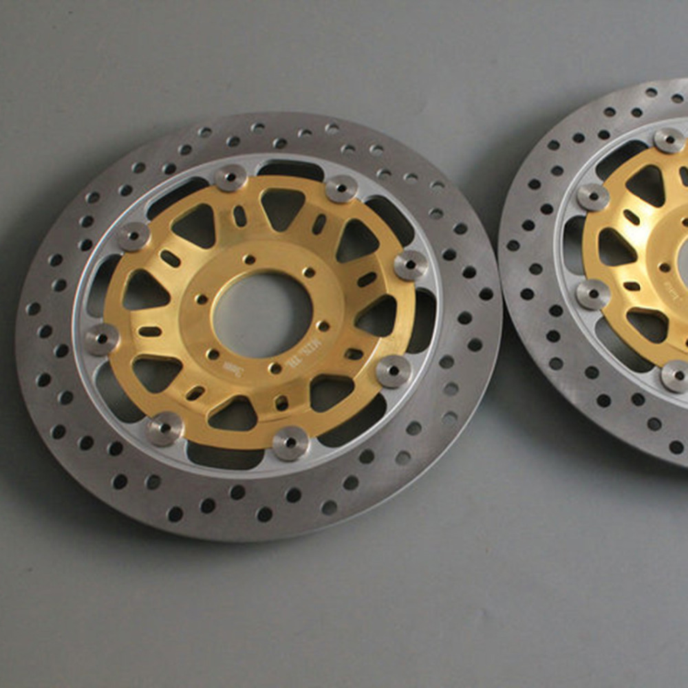Gold 2 pieces motorcycle Front Disc Brake Rotor Scooter Front Rear Disc Brake Rotor for HONDA HORNET250 VTR250 2 pieces motorcycle front disc brake rotor scooter front rear disc brake rotor for honda cb400 1994 1995 1996 1997 1998