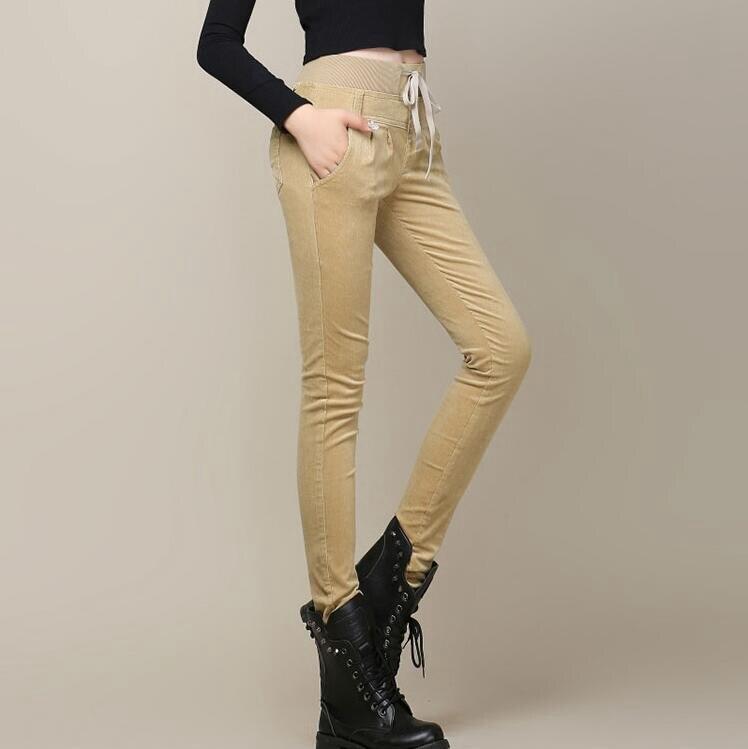 #1954 High waist Corduroy women pants Fashion Boot pants Stretch Solid color Skinny Elastic waist Skinny Pantalon femme hiver