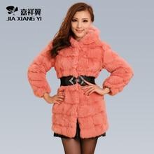 2016 Autumn Winter Ladies' Genuine Real Spliced Rabbit Fur Coat With Hoody Women Fur Outerwear Garment VF0590