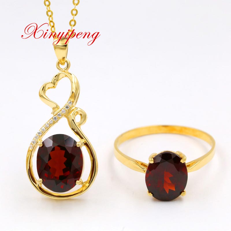 Xin yi peng 18 k or jaune incrusté naturel grenat collier anneau costume, femmes bijoux, cadeau d'anniversaire