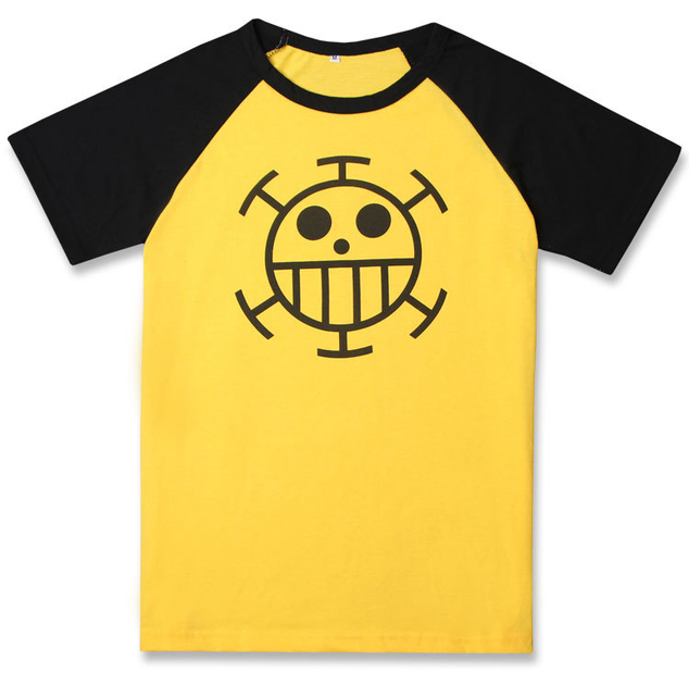 3f89fc2ec Anime One Piece Trafalgar Law T-Shirt Cosplay Costume Yellow Short Sleeve  Cartoon Fashion T Shirt Daily Casual Tshirt