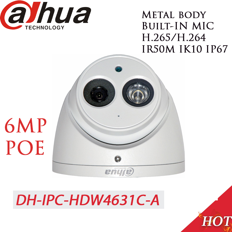 Dahua 6MP 4MP POE H 265 Dome IP Camera Built in mic IPC HDW4631C A HDW4433C