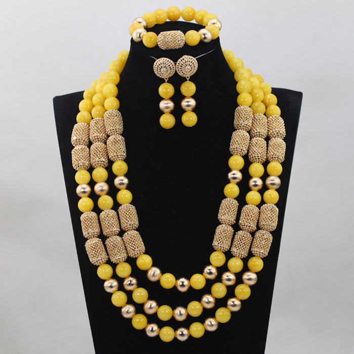 Honorable Yellow Coral Beads Jewelry sets Nigerian African Wedding Bridal/Women Beads Necklace Jewelry Sets Free Shipping CJ810
