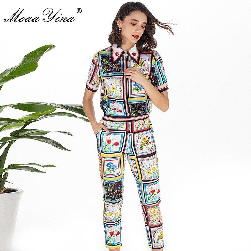 Image 4 - MoaaYina модельер летний комплект Для женщин с коротким рукавом отложной воротник Бисер Цветочный принт элегантные топы + 3/4 карандаш Штаны комплектСпортивные костюмы   -