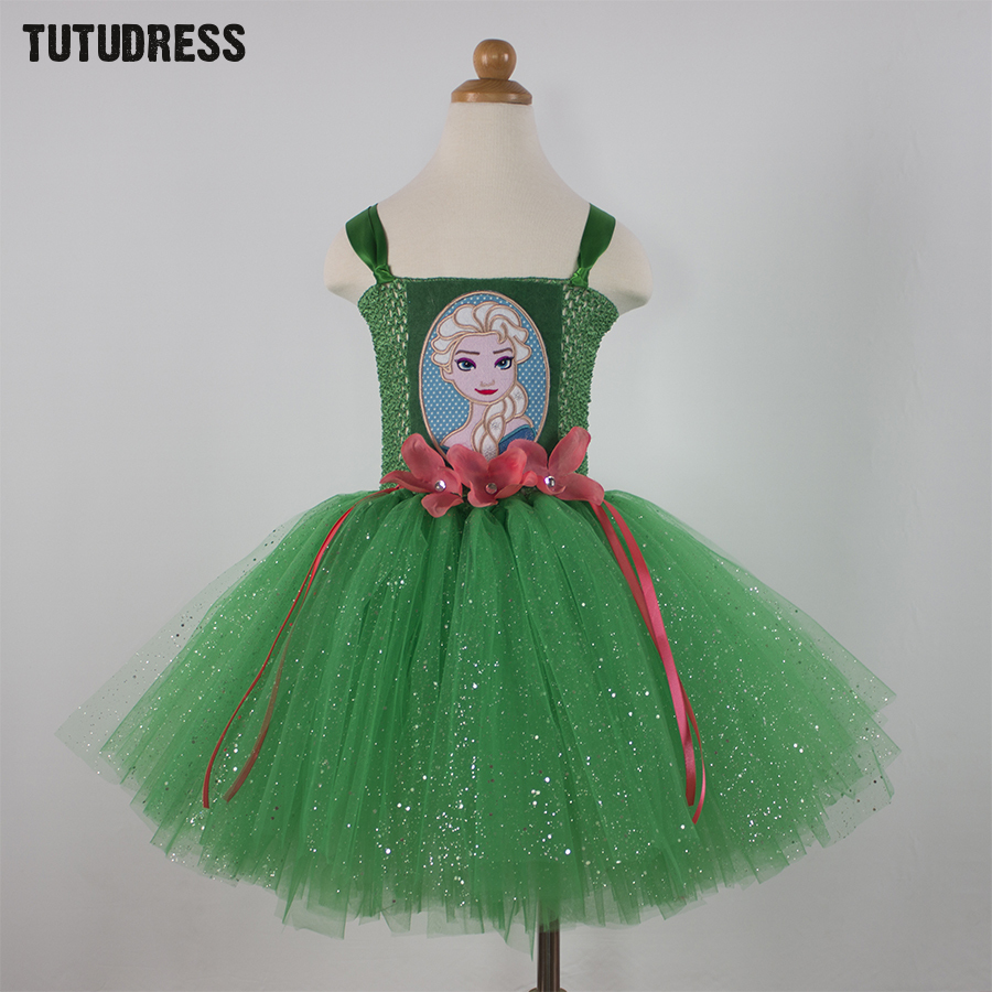 Green Children Kid Girl Anna Elsa Dress Princess Cosplay Elsa Costume Halloween Baby Girls Tulle Tutu Dress Robe Enfant Vestidos elsa dress sparkling snow queen elsa princess girl party tutu dress cosplay anna elsa costume flower baby girls birthday dresses