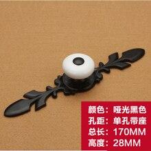 Длина 170 мм Panda стиль одно отверстие ручки сплава цинка керамические мебель кабинет ручки ящика тянет с базой