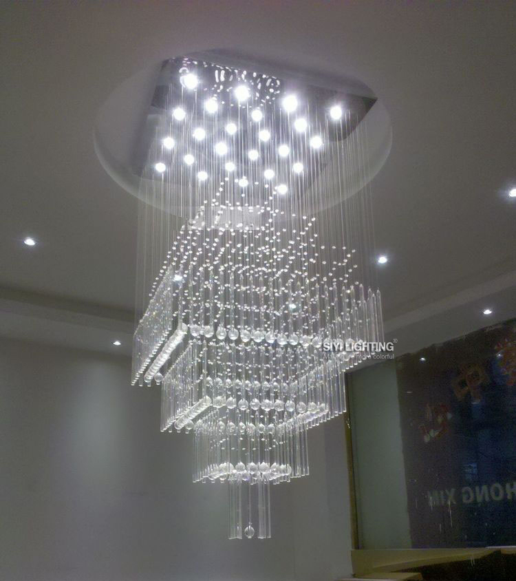 Modern 12 Led Bulbs D60 H140cm Crystal Chandelier Pendant