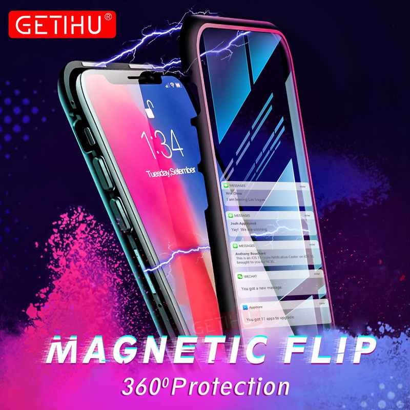 Magnetische Fall für iPhone XR XS MAX X 8 Plus 7 + Metall Gehärtetem Glas Zurück Magnet Fällen Abdeckung für iPhone 7 6 6S Plus Fall