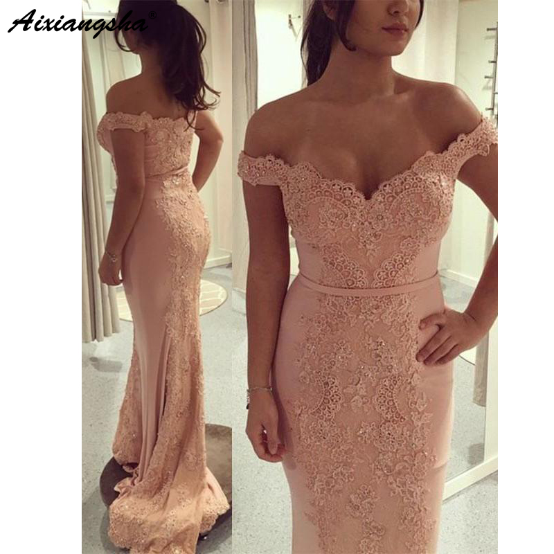 2018 Off the Shoulder Blush Pink Lace Beaded Custom Made Long Evening   Dress   Mermaid   Prom     Dresses