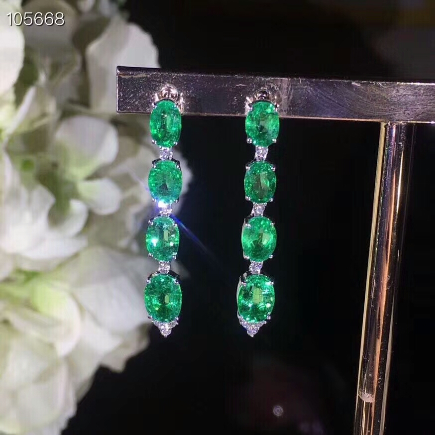 KJJEAXCMY fine jewelry 925 pure silver inlaid natural emerald lady Earrings Ear Studs support test 925 silver plating rose shaped ear studs pair