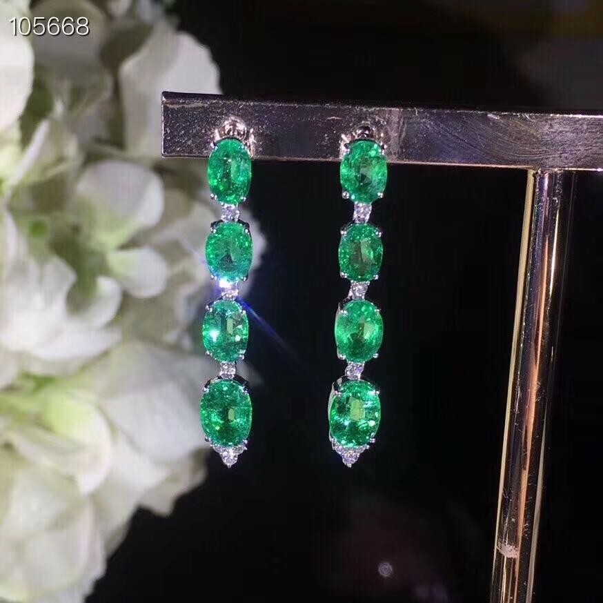 KJJEAXCMY fine jewelry 925 pure silver inlaid natural emerald lady Earrings Ear Studs support test недорго, оригинальная цена