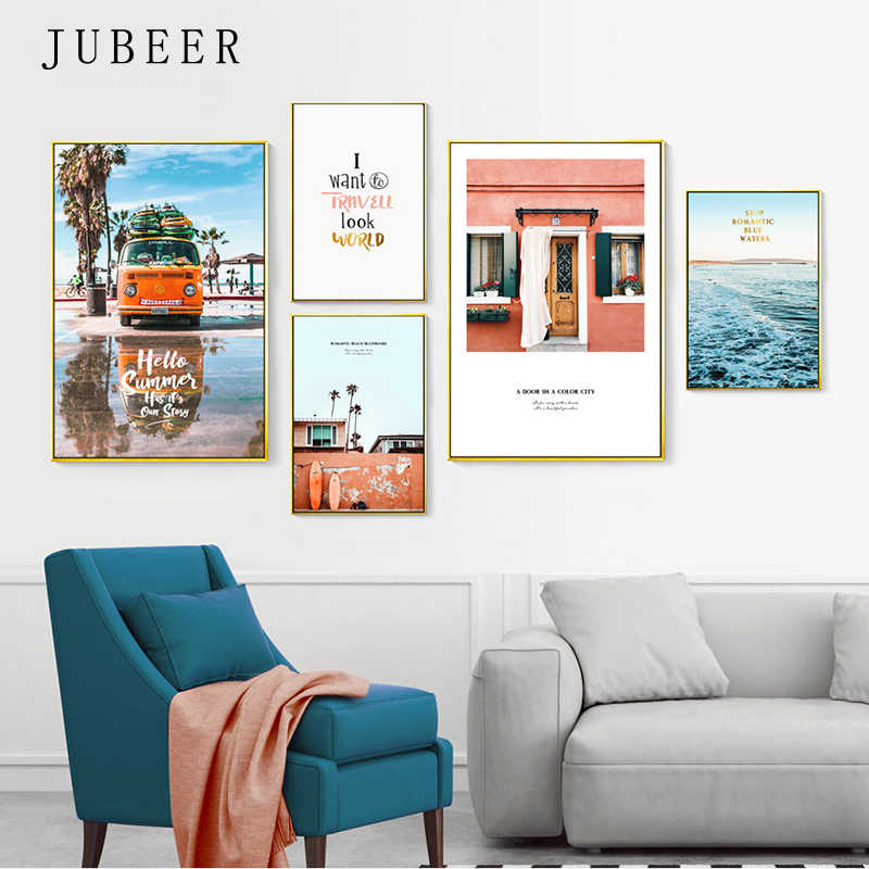 Nordic Style Landscape Posters and Prints Car Canvas Painting Sea Wave Cuadros Decoracion Salon Posters on the Wall Modern