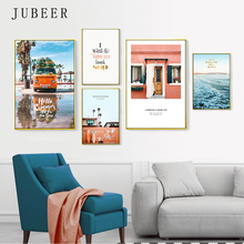 Nordic Style Landscape Posters and Prints Car Canvas Painting Sea Wave Cuadros Decoracion Salon on the Wall Modern
