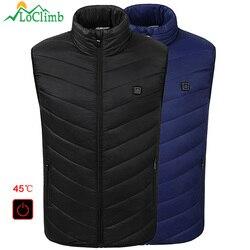 LoClimb Men's Heated Vest Men 2018 Winter USB Heating Waistcoats Mens Outdoor Sleeveless Jacket Ski Trekking Hiking Vests AM356