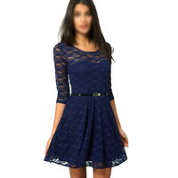 New Women Summer Casual Dresses Sexy Spoon Neck Three Quarter Sleeve Skater Lace Dress With Belt
