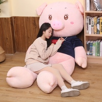 80/100cm Kawaii Big Size Pig Stuffed Toy Sweatshirt Pig Plush Doll Cartoon Plush Pillow Soft Animal Cushion Girl Birthday Gift