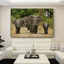 Modern Animals Posters and Prints Wall Art Canvas Painting African Grassland Elephants Pictures for Living Room Decor No Frame