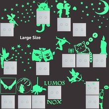 Large Luminous Cartoon DIY Switch Sticker Wall Stickers Decoration Fluorescent Glow in the Dark Livingroom Kids Rooms Home Decor(China)