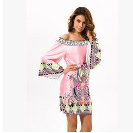2017 Off Of Shoulder Fashion Summer Dress Bohemian Female  Festa Casual Tunic Print Dresses Loose Girl Dress