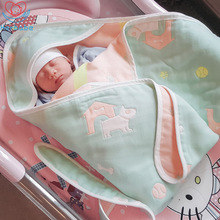 Herbabe Baby Receiving Blankets Cotton Cartoon Infant Toddler Swaddle Wrap Boy Girl Bathrobe Newborn Hooded Sleeping Quilt