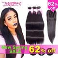 Brazilian straight hair with closure bundles with closure straight hair with closure 7A Brazilian virgin hair with closure