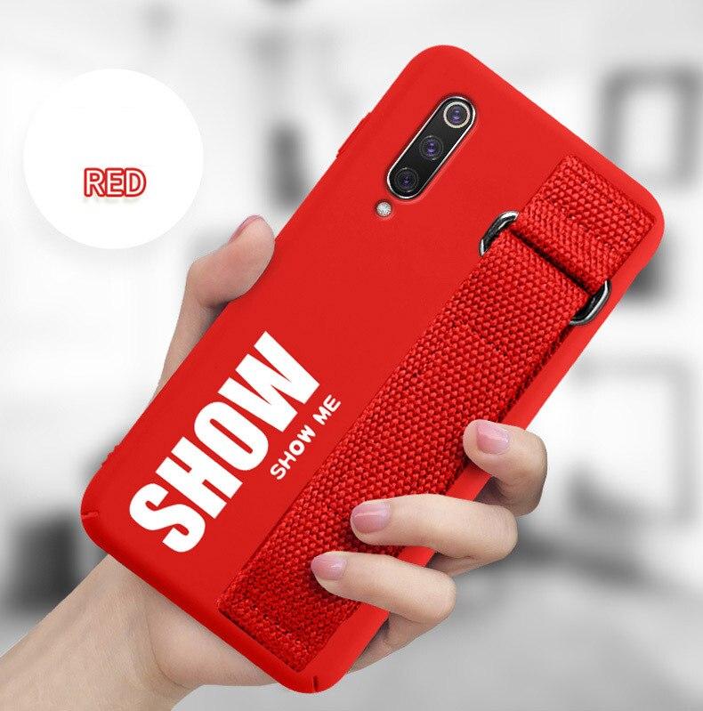 HTB17 gILpzqK1RjSZFvq6AB7VXak For Xiaomi Mi 9T 9 SE 8 Lite Pro 6 6X A2 A1 Note 10 Max 2 3 Mix 2S CC9 CC9E Redmi K20 Case Silicon Matte Cover Hand Strap Funda