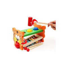 Wooden Toys Children's Music Perception Toy musical Instrument Serinette Knock The Ball Tiger Percussion Music Minifigure