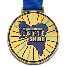 enamel medal cheap custom made gold with blue ribbons high quality oem metal  medals