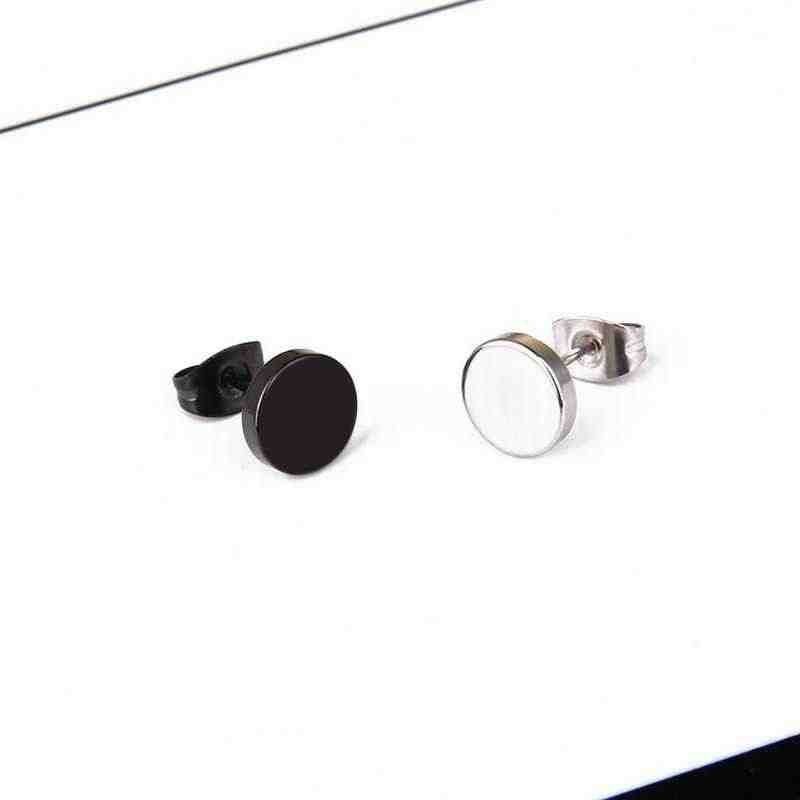 1 قطعة الفولاذ المقاوم للصدأ الدمبل أقراط ل التيتانيوم جولة الأسود الشرير الأذن مجوهرات النساء الرجال هيبوالرجينيك روك نمط هدية
