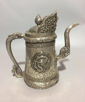 Collectible archaize white copper carving Dragon teapot