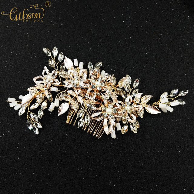 Gold Bridal Hair Accessories Hair Comb Floral Leaf Wedding Headpiece For Bridal  Delicate Women Party Head Ornament 33ac5dbac2f9