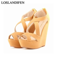 Big Size 35-42 Fashion Summer Women Wedges High Heels Platform Sandal Shoes Sexy Wedge Peep Toe Hot Sale Sandals NLK-A0039 coolcept women s wedges sandals ankle strap comfortable peep toe sexy rose red summer sandal shoes women footwear size 34 39
