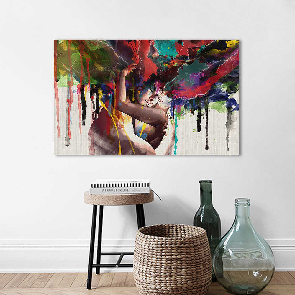 AAVV Wall Art Picture Canvas Painting Wall Pictures The Lovers Hug Portrait Poster Print For Living Room Home Decor No Frame