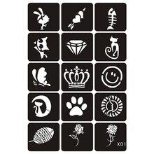 15 шт. аэрография блеск трафареты татуировки женщина девочка дети шаблон для рисования, маленький цветок Корона кошка мультфильм трафарет татуировки 6*4,8 см X1