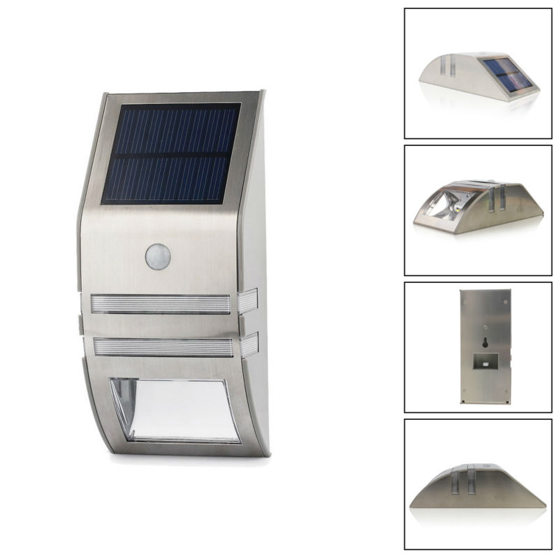 1x Waterproof 2 LED Led Solar Wall Light PIR Motion Sensor Garden Lights Wall Motion PIR