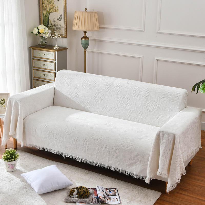 Beige Cotton blended yarn Sofa Cover Living Room Corner