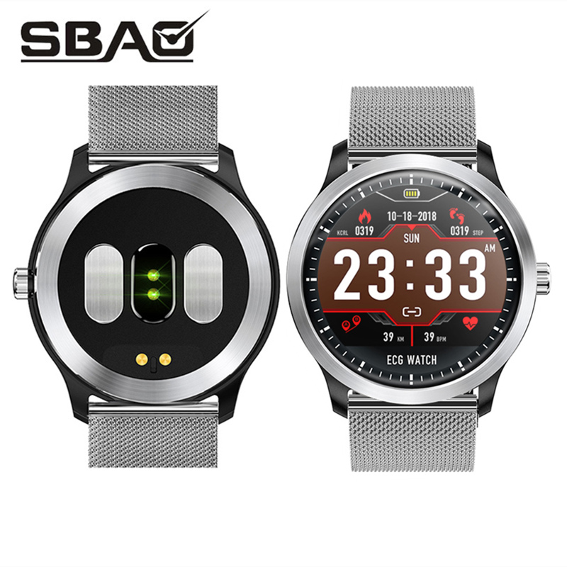 Topest ECG PPG Sport Watch Men Women Fitness Tracker Smart Band Blood Pressure Monitor Leather Smart