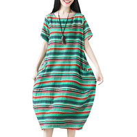 P Ammy Large size Cotton & Linen Loose Colorful Striped Dress Women Summer Big Size Short sleeved O neck Mid Calf Classic Dress