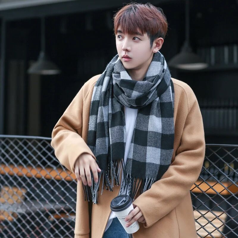 New Mens Simple Plaid Scarf Classic Men Business Scarf For Boys Student Autumn Winter Warm Long Scarves Gift For Dad Boyfriend Apparel Accessories