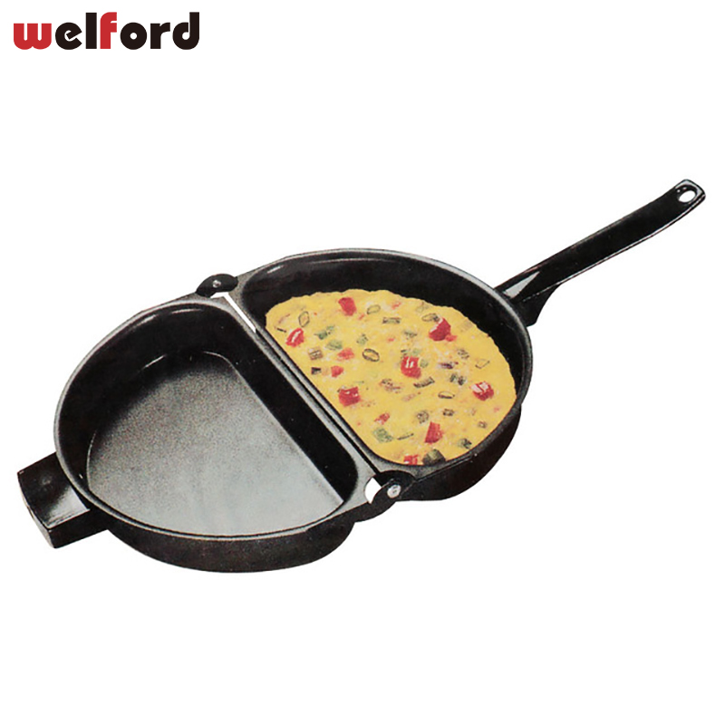 23*14cm Double Side Non-stick Folding Omelette Pan Hand Frying Pan Folding Pot Kitchen Stainless Iron Grill Pan Cooking Tools