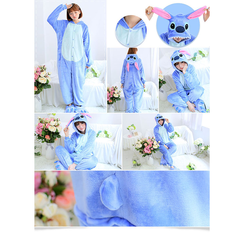 Wholesale Horse Stitch Llilo Anime Panda Unisex Flannel Pajamas Adults Anime Cosplay Onesie Sleepwear Hoodie For Women