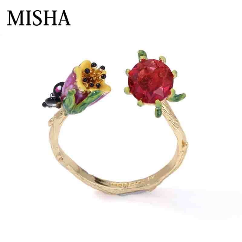 Wedding Gift For Friend Female: MISHA 2018 New Lovely Lily Flowers Open Ring Anniversary